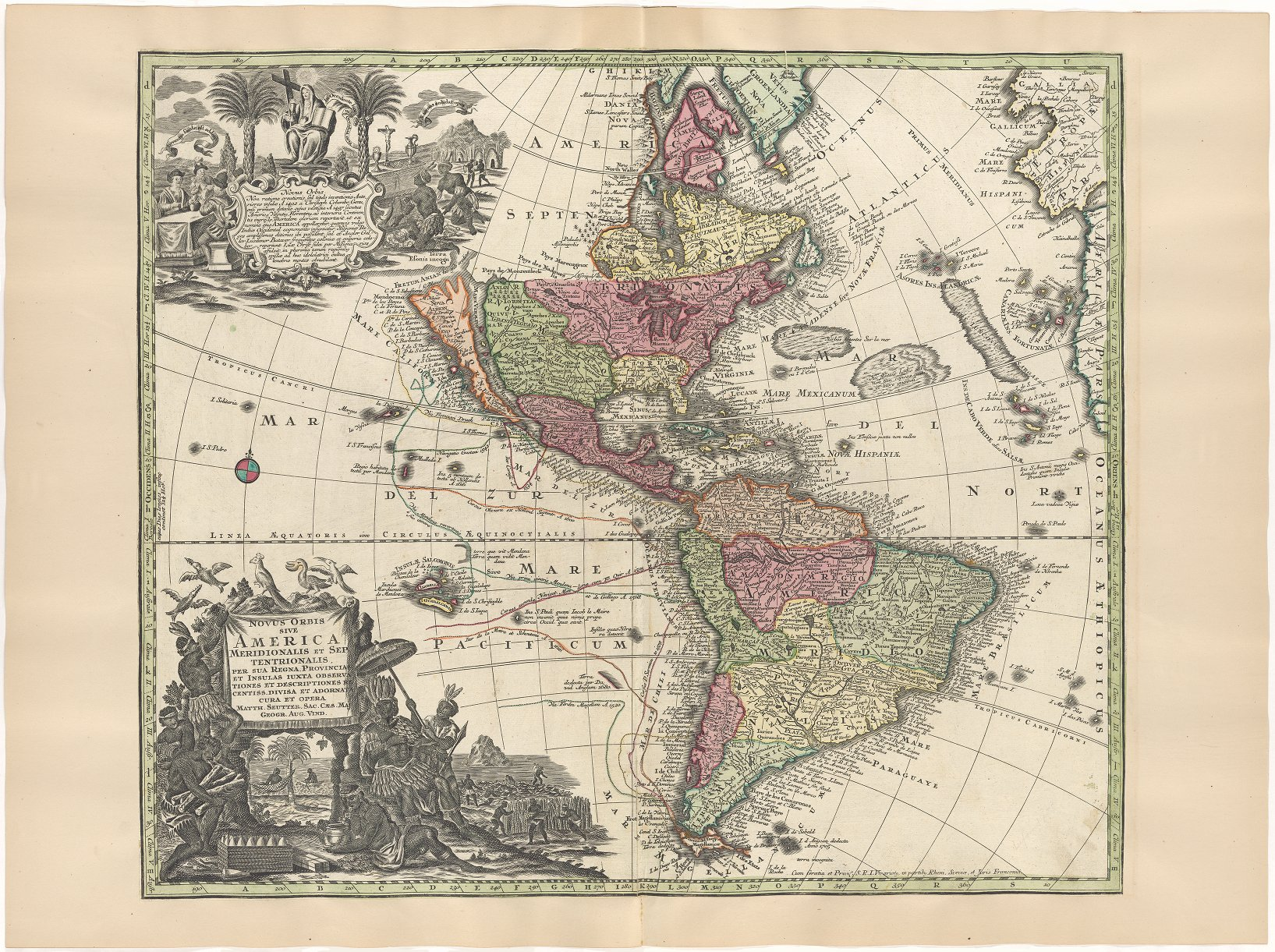 Old color map of north and south America, with a distorted view of North America.