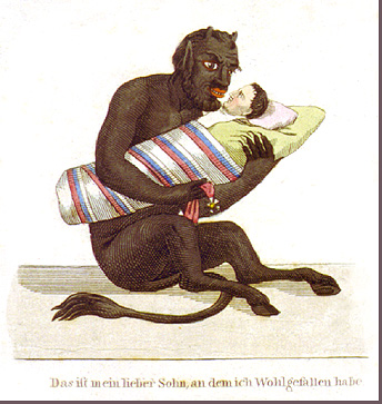Cartoon of the Devil holding Napoleon as a baby on a swaddling board