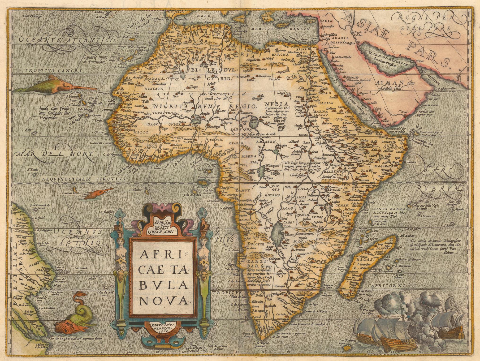 Abraham Ortelius's map from 1584 depicting Africa.