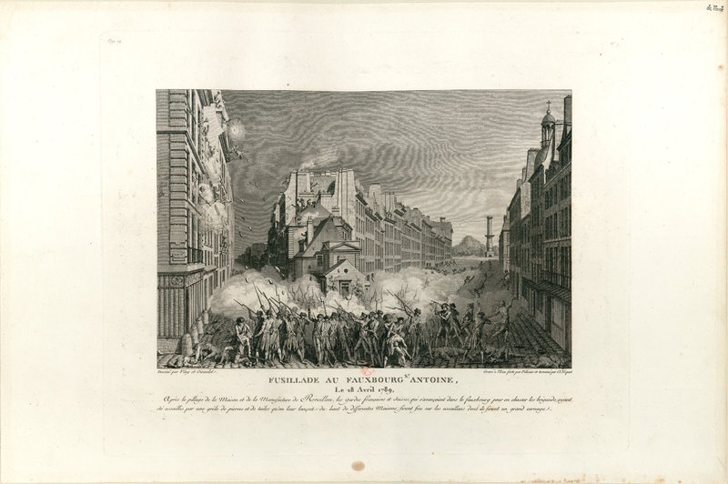 Engraving of riot scene