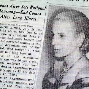 New York Time's reports on Eva Peron's death in Argentina in 1952
