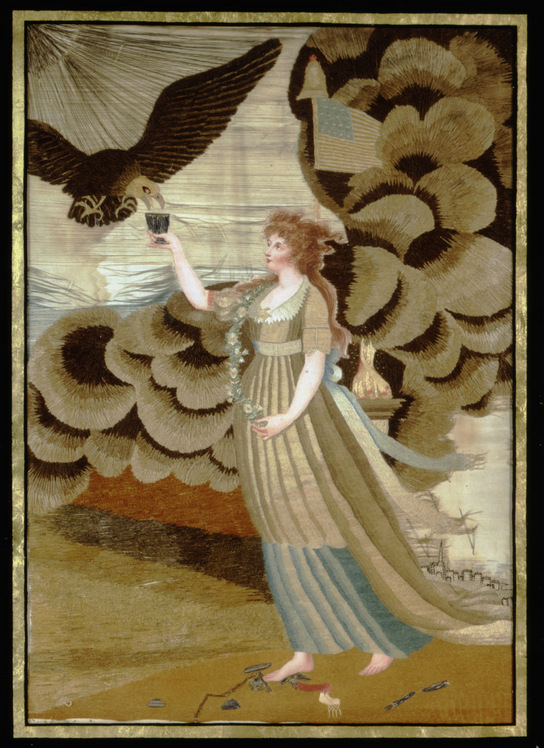 Embrodiery of young woman and bald eagle