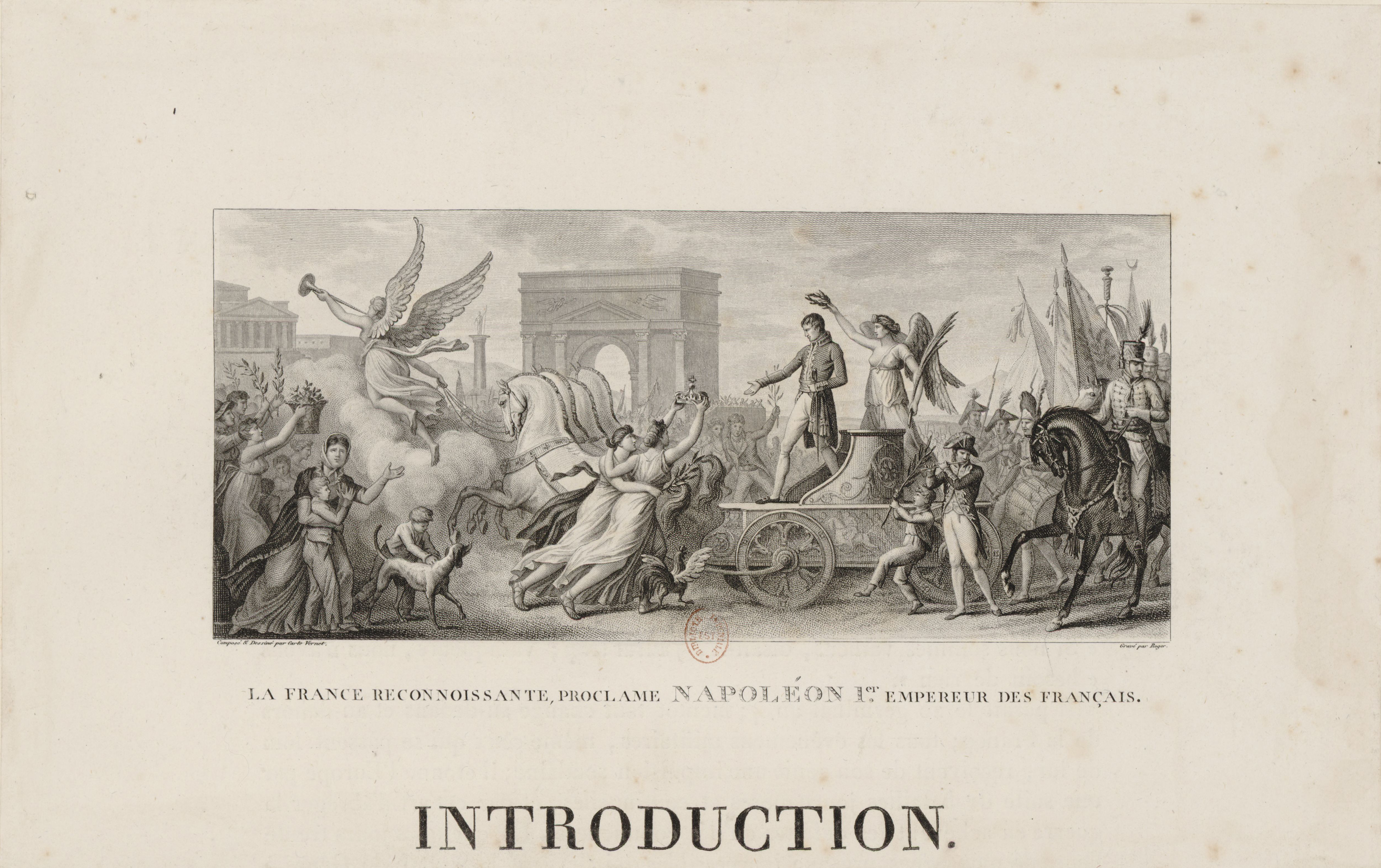 Engraving of symbolic scene combining Roman and French themes