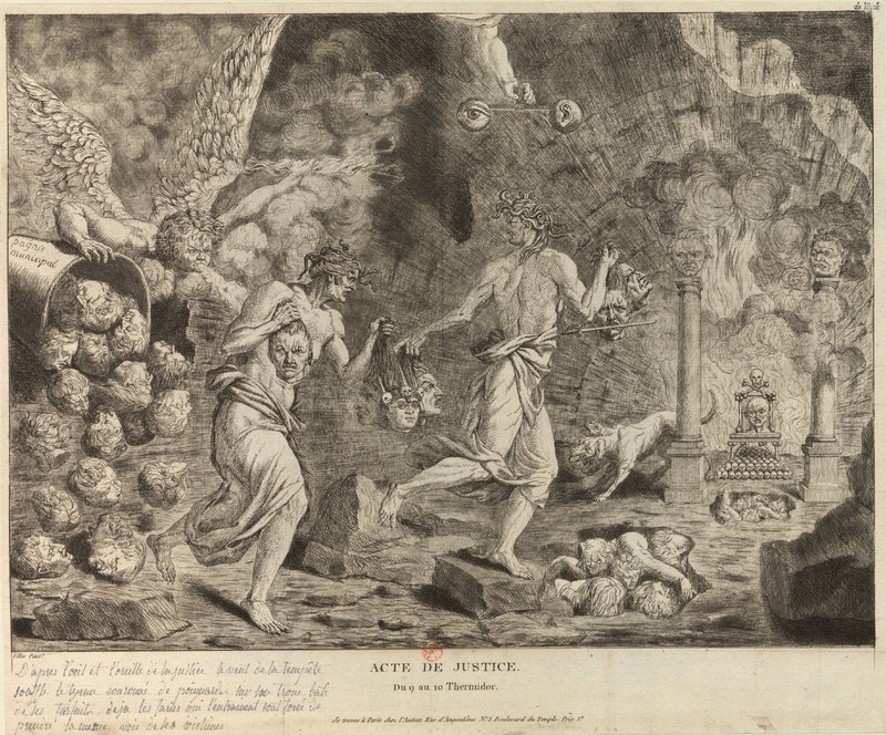 Mythical print depiction of Robespierre's death