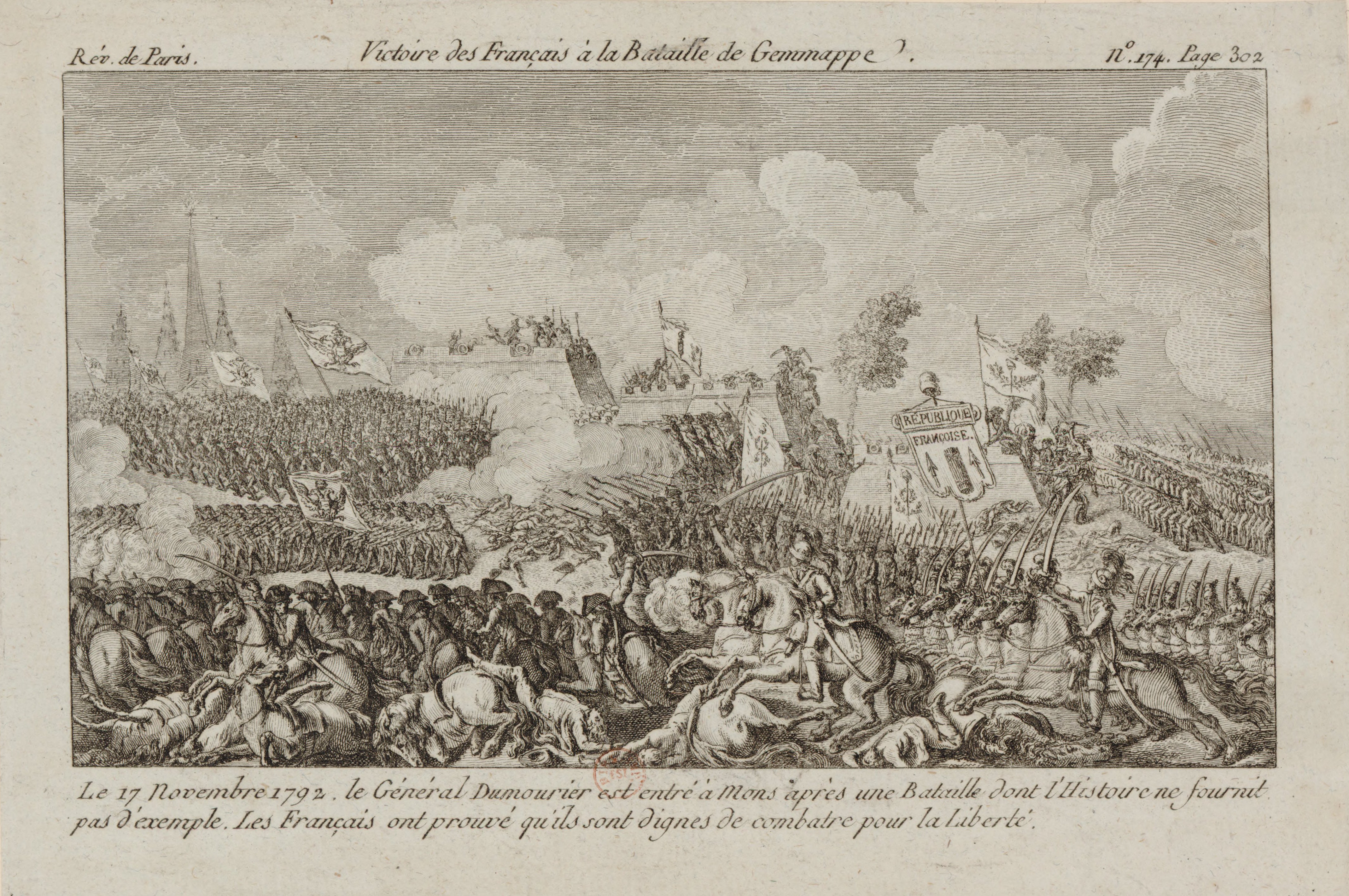 Engraving of the French victory at the Battle of Jemmappes