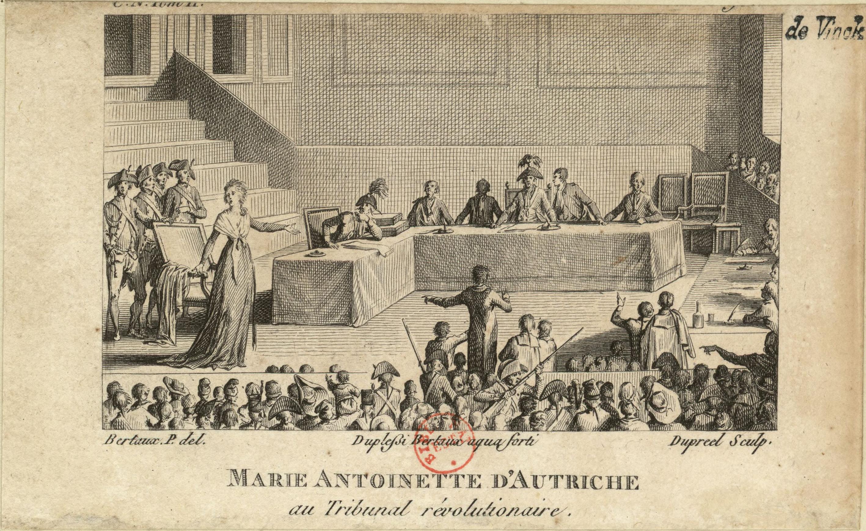 Engraving of Marie Antoinette at her trial