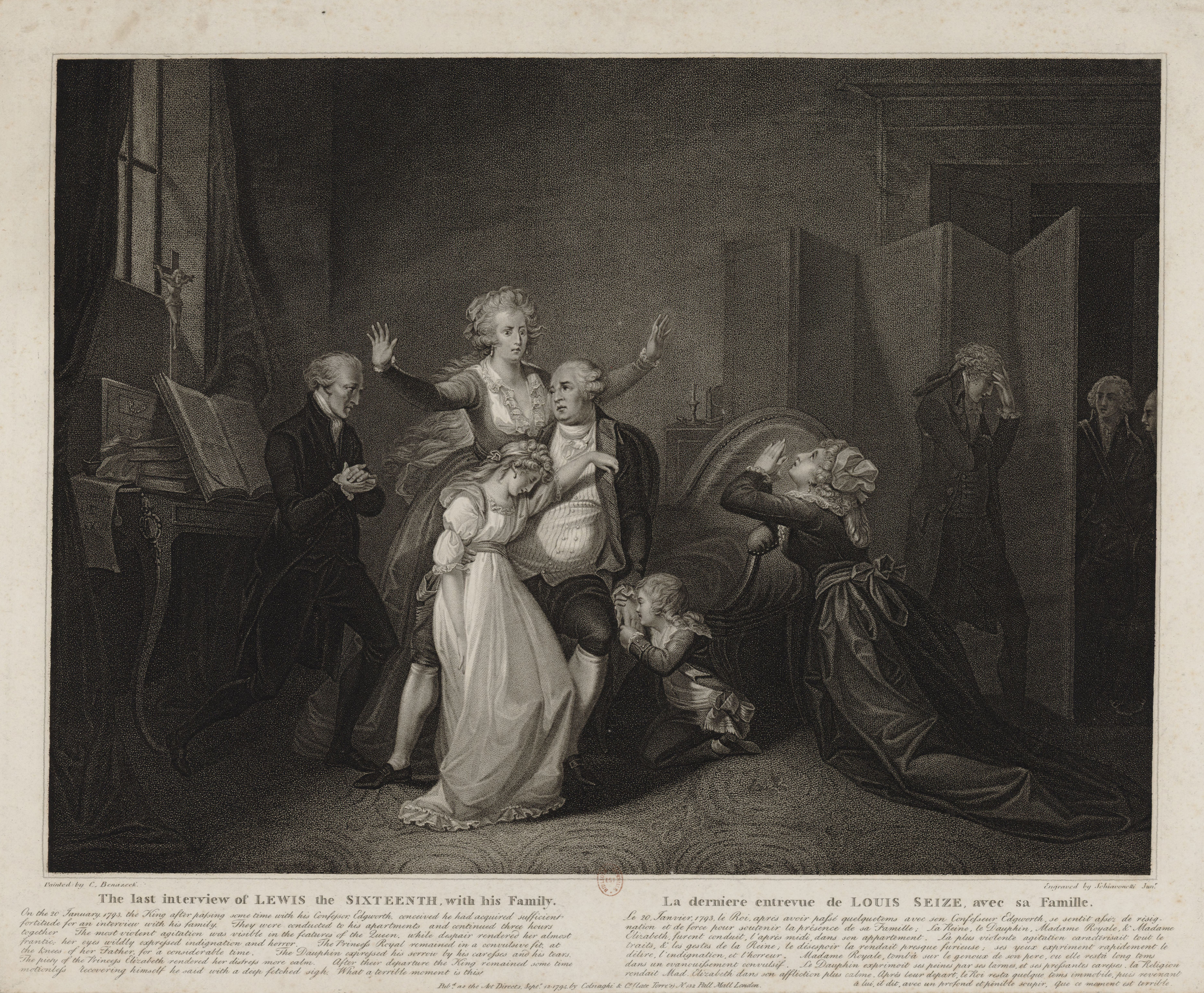 Engraving of King Louis XVI's last meeting with his family