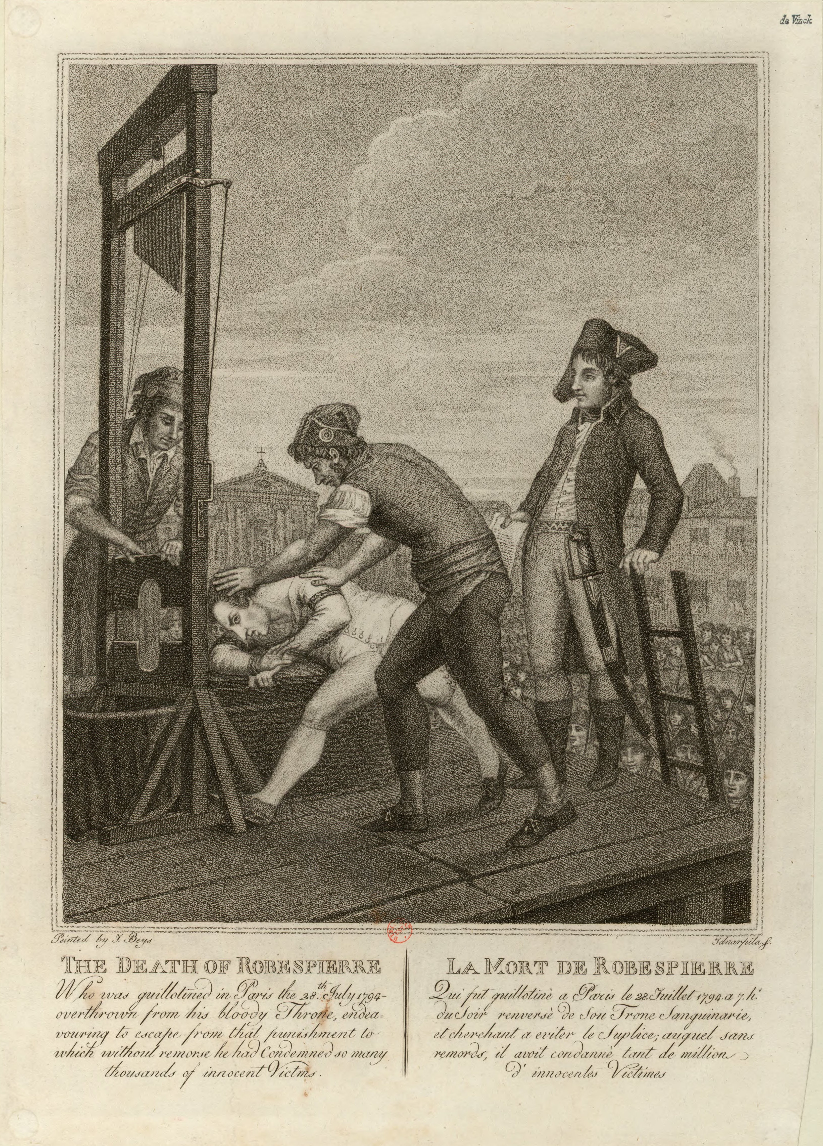 Engraving depiction of the death of Robespierre
