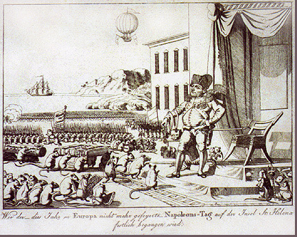 Caricature of Napoleon talking to a crowd of mice