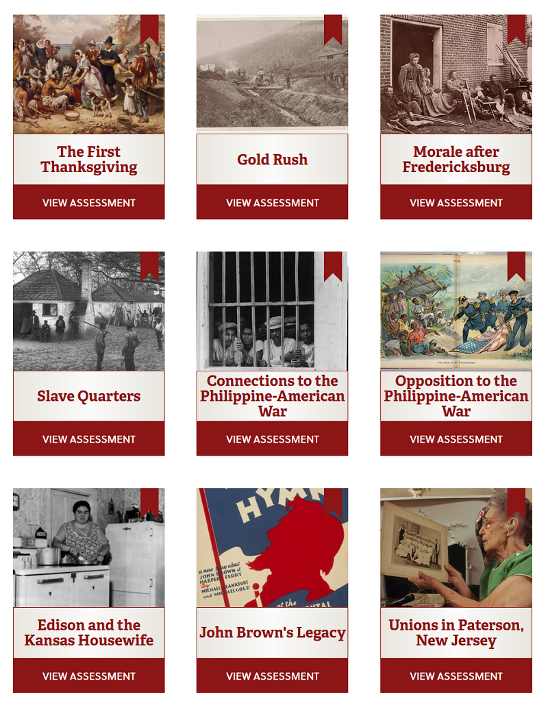 Screengrab of various paintings and photographs arranged in a 3 by 3 grid, demonstrating a selection of the assessments available on this site