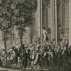 Thumbnail of drawing of man giving a speech for a crowd