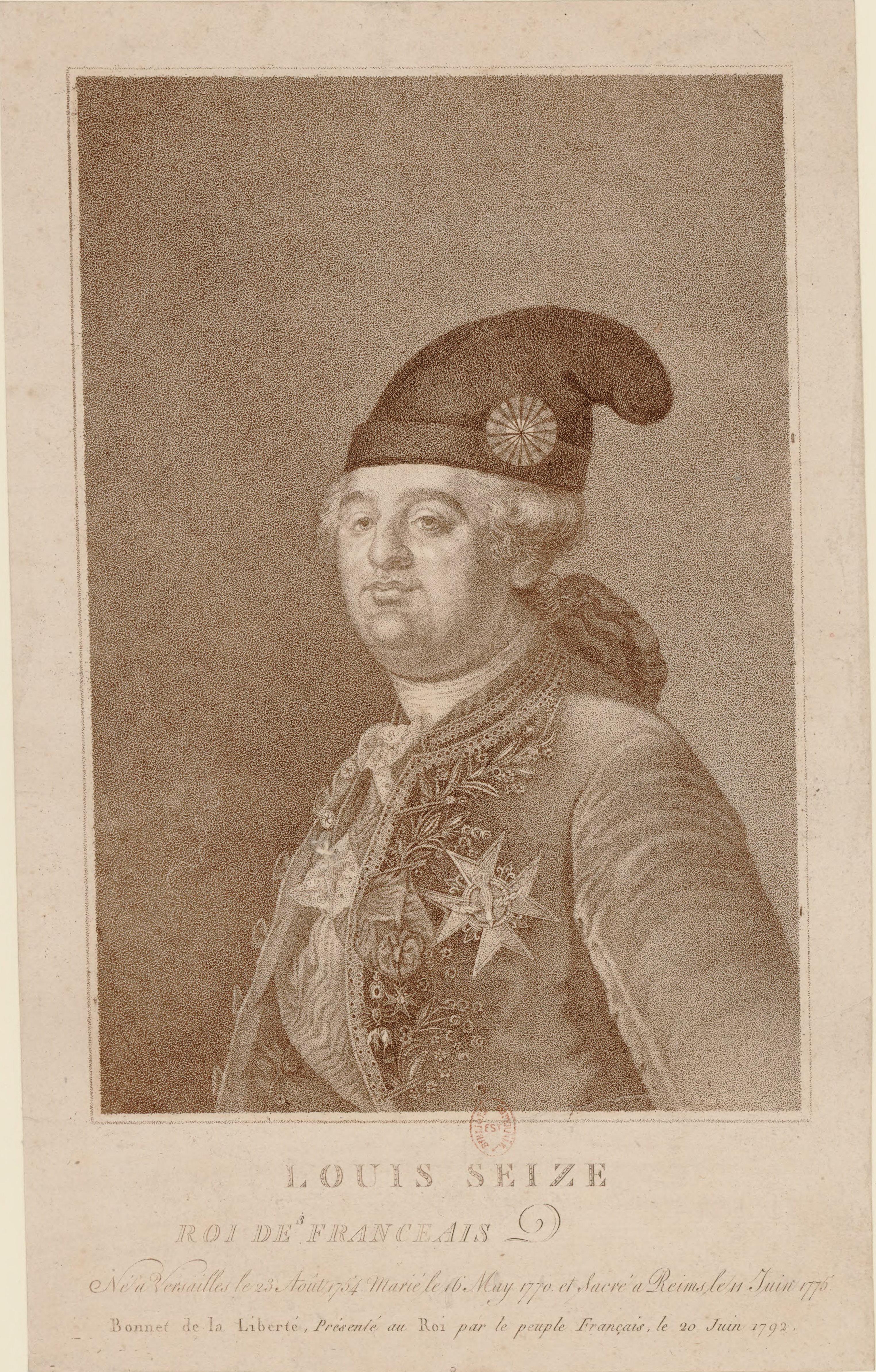 Engraving of King Louis XVI wearing a Phrygian cap