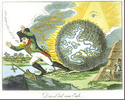 Ilustration of globe rolling after Napoleon