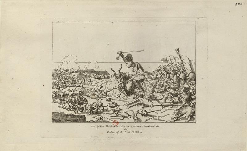 "Cartoon of Napoleon charging into ""battle"""