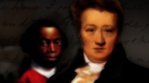 Drawing of two men, with a white man that is presumably Thomas Clarkson in the foreground, and a black man in the background. They are both dressed in colonial-era clothing.