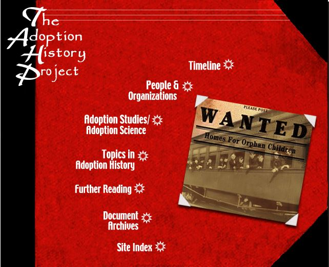 Screenshot of The Adoption History Project homepage showing the menu of site sections