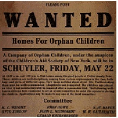 "Image of an ad asking ""Wanted: Homes for Orphan Children"""