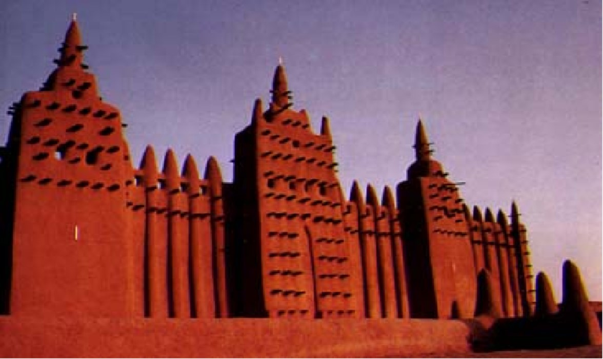 Image of The Great Mosque of Djenné, rebuilt in 1909, from one of the Sourcebook's resources on Islam and Indigenous African Culture
