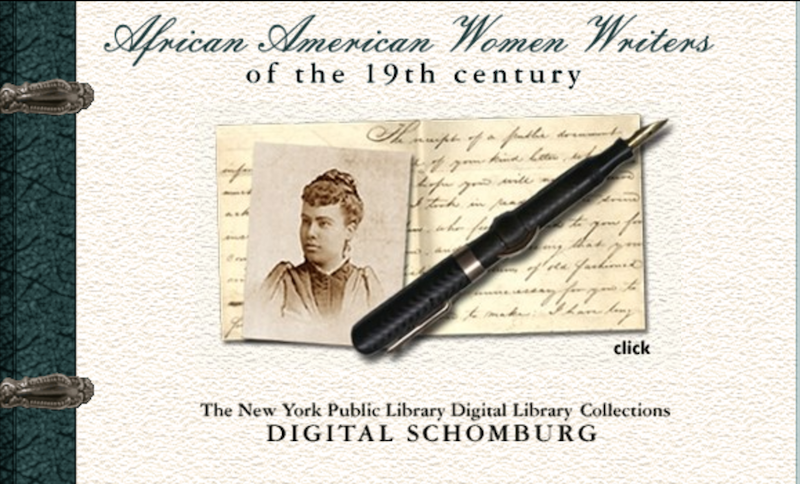 Image shows homepage with a photo of a woman by an open book and a pen