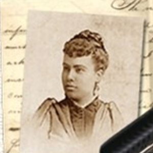 Photo of a woman with writing in the background