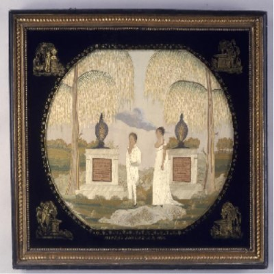 Phelps mourning embroidery from American Centuries' collections.  It shows two people visiting a grave flanked by weeping willows.