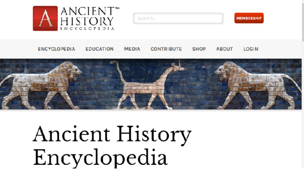 Screenshot of the Ancient History Encyclopedia website