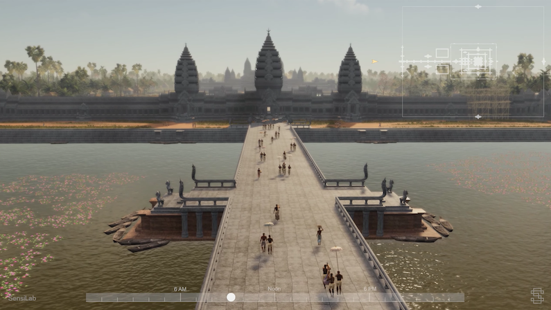 Virtual scene of a long walkway over a river leading to a palace.