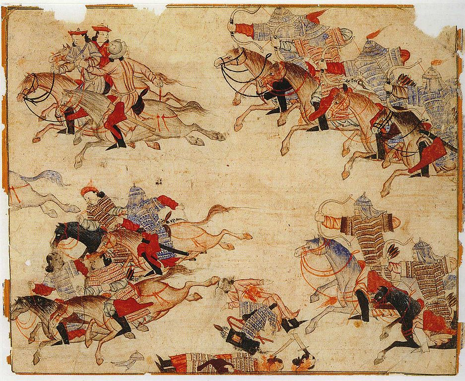 Painting shows mounted warriors armed with bow and arrows in combat