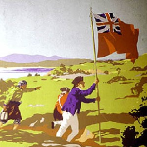 Detail of The Landing of Captain Cook at Botany Bay, 1770  depicted in a 1930s travel poster