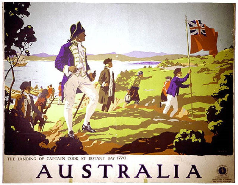The Landing of Captain Cook at Botany Bay, 1770  depicted in a 1930s travel poster