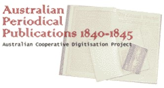 Logo for Austrialian Periodical Publications 1840-1845 showing the title in front of newspaper pages