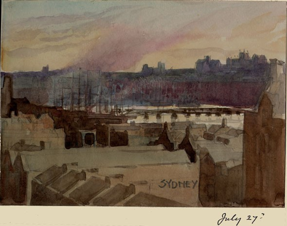 1897 watercolor of Sydney's port looking across the roofs of several buildings towards the harbor and ships