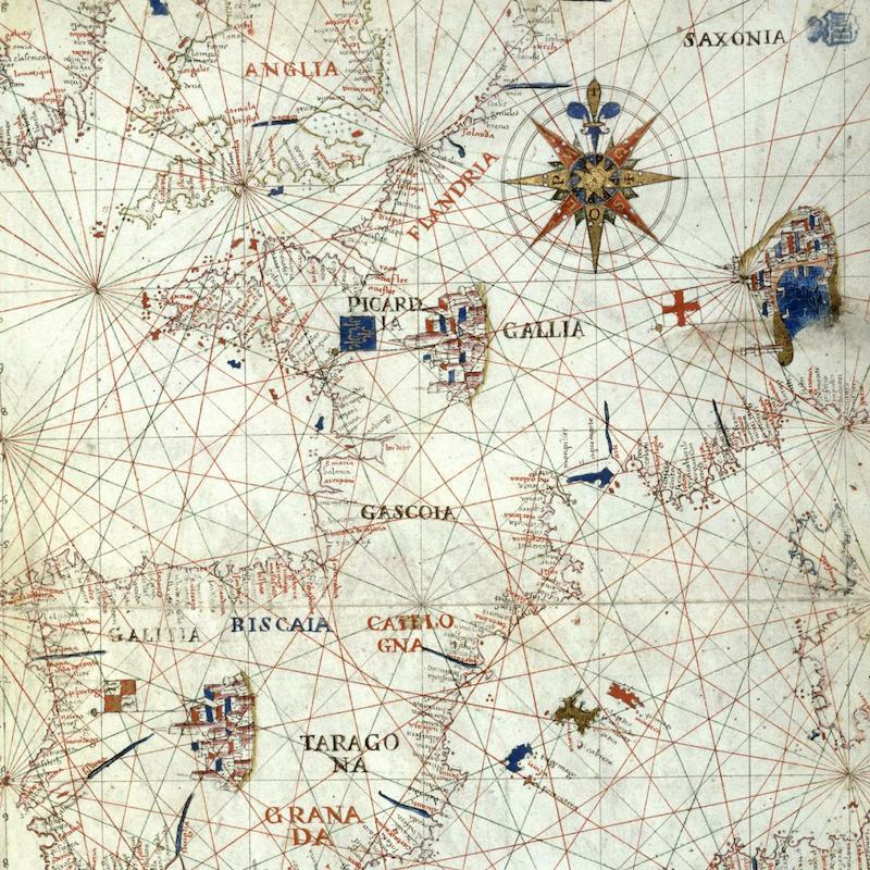 [Carta de las costas del mar Mediterráneo] [Material cartográfico] / Vincus. demetrius voltius Raguseus fecit Neapoli die 28 februari 1592