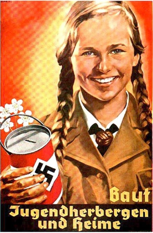 The image is a Nazi propaganda poster of a blond girl holding white flowers and a can decorated with a Swastika