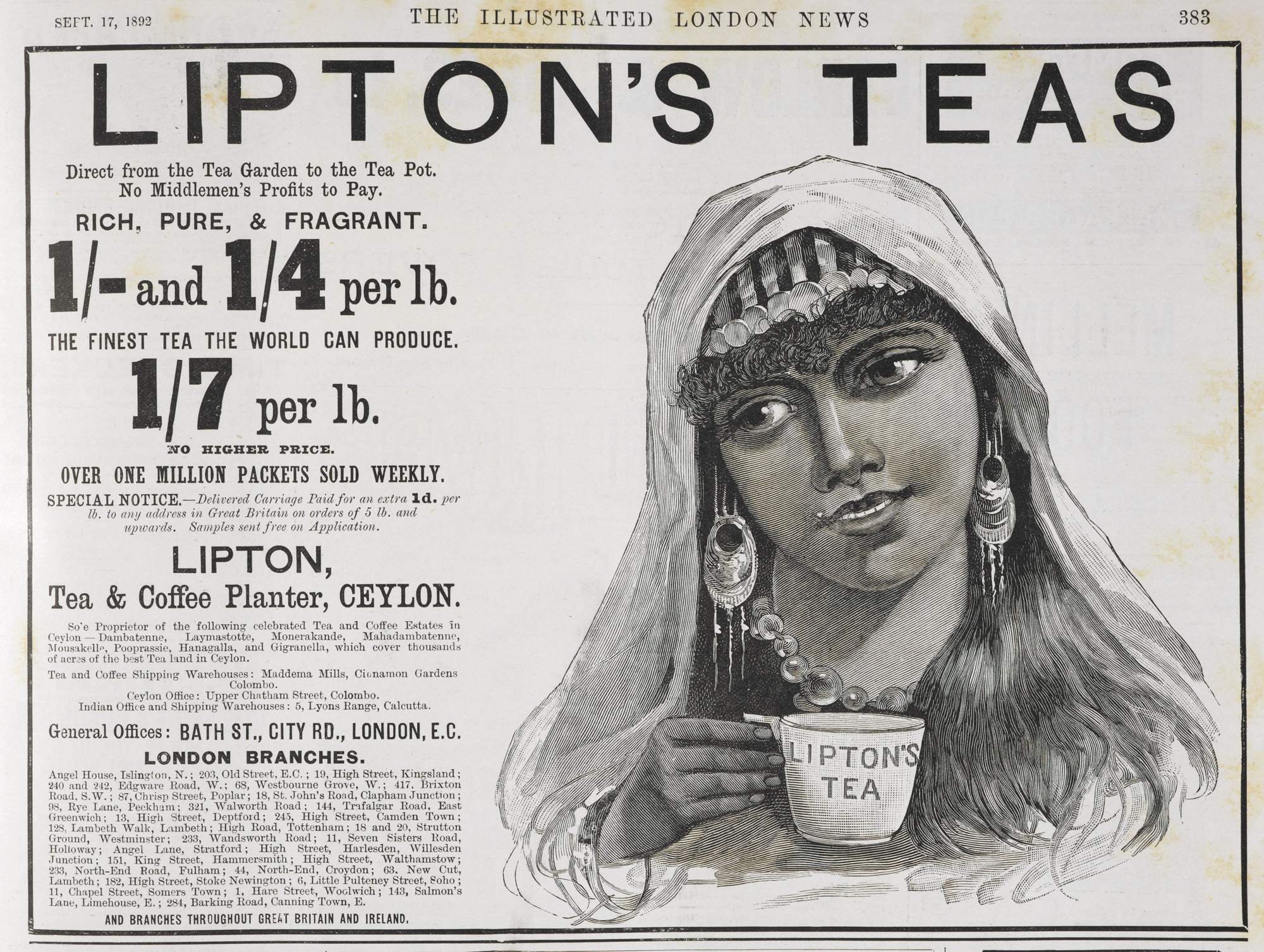 Image of a newspaper advertisement from a nineteenth-century British newspaper for Lipton Tea showing an Indian girl drinking tea with various prices for tea
