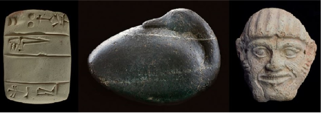 Examples from the collection showing an Assyrian letter, a duck weight, and a Babylonian mask
