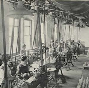 Thumbnail of a photo of women working in a factoryThere is also a great deal of material on the foundation of female education and on the women's suffrage movement.