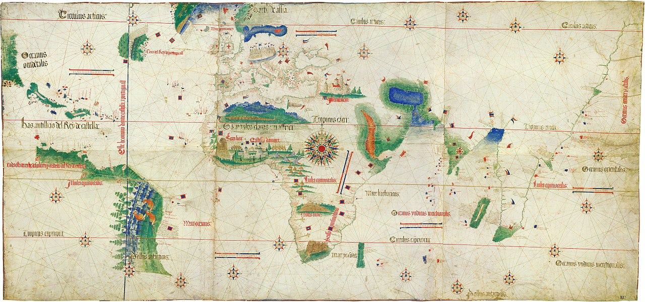 World map of 1502 showing the Americas