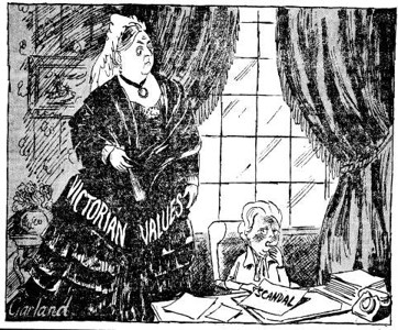 """1983 political cartoon showing Queen Victoria in a dress reading """"Victorian Values"""" standing over Margaret Thatcher who is holding a paper that says """"Scandal"""""""