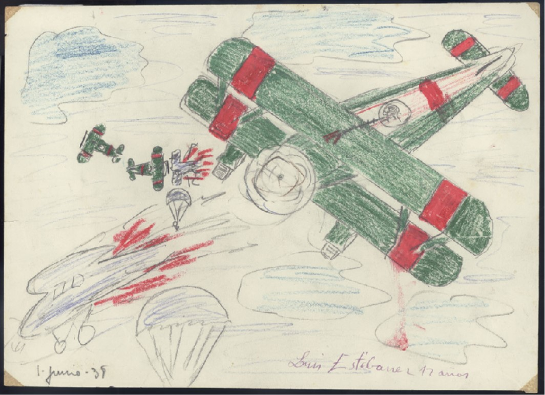 1938 drawing by Luis Estebanez showing airplanes in a dogfight.  It includes, 1 large green airplane, 2 smaller black planes further back, and an airplane in flames as men in parachutes float around them.