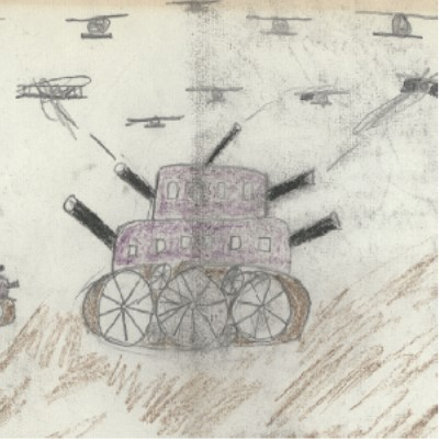 Detail of a 1930s drawing by Alberto Monos showing a purple tank with multiple guns firing at airplanes