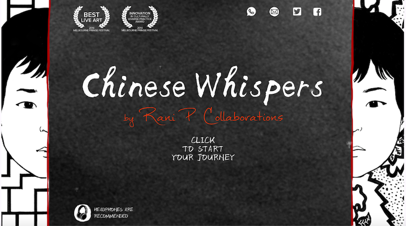 Image of the front page of The Chinese Whispers digital graphic novel, featuring text that says 'Chinese Whispers, a Rani P Collaboration' and 'Click here to begin the journey'. The text is flanked by a halved image of Rani Pramesti's digital avatar