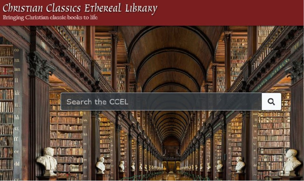 Screenshot of the Christian Classics Ethereal Library homepage