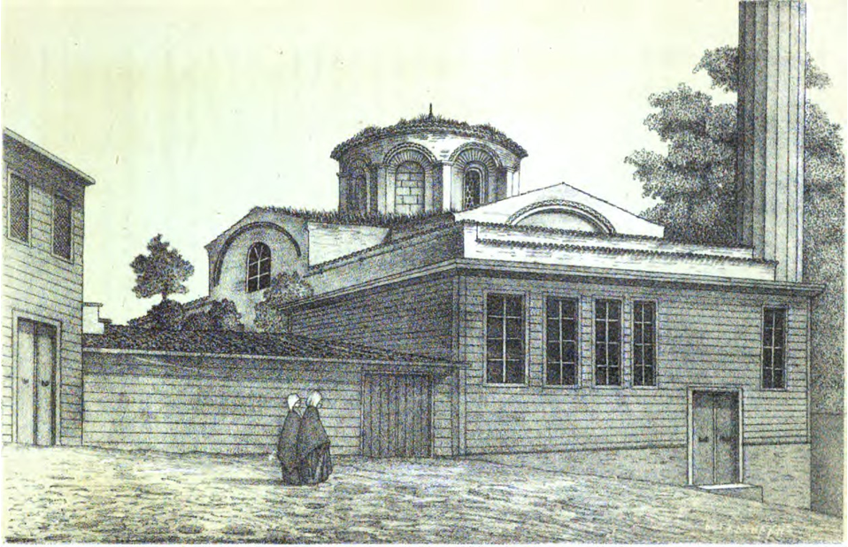 A drawing of a building with a dome in the center