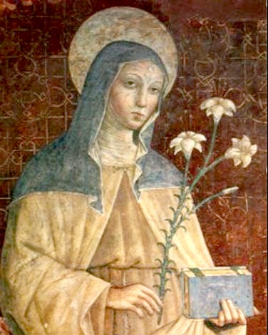 Painting of a woman holding flowers and a book