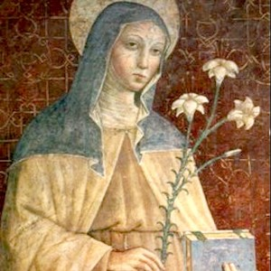 Thumbnail of Painting of a woman holding flowers and a book