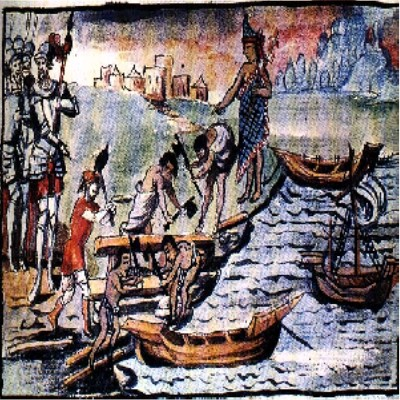 Building Cortes's  fleet of brigantines by Duran Codex, 1521 image showing Indigenous people building boats for Hernan Cortes