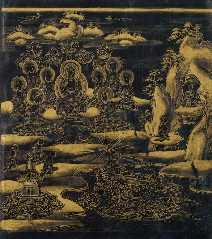 """Scroll frontispiece of this scroll of the """"Devadatta"""" chapter of the Lotus Sutra depicts the eight-year-old daughter of the Dragon King emerging from her palace beneath the sea to offer a precious, radiant jewel to the Buddha on Eagle Peak"""