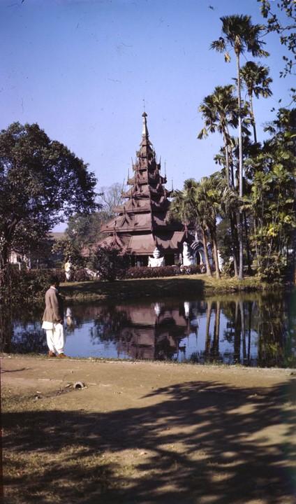 Photograph of a temple in Calcutta's Eden Gardens taken in 1945