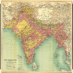 A 1909 map of India